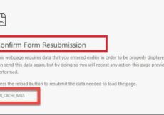 ERR_CACHE_MISS - Confirm Form Resubmission Error