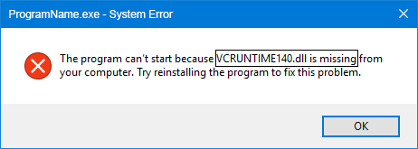 VCRuntime140.dll is Missing Error