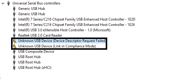 unknown usb device device descriptor request failed