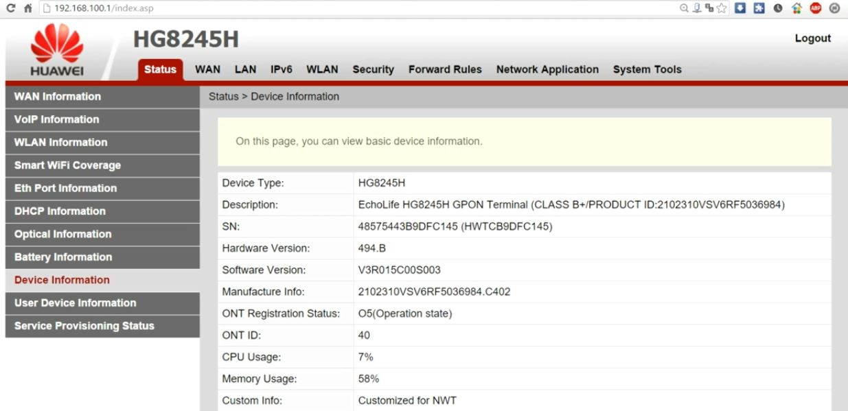 192.168.100.1 Router Admin Page