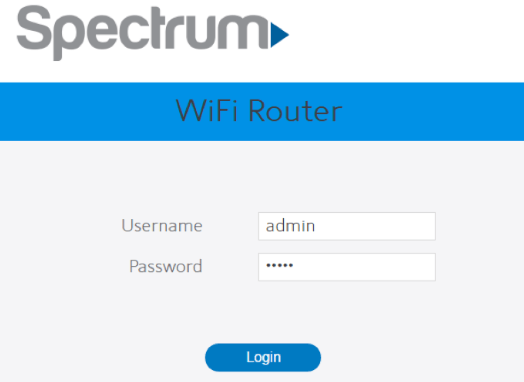 Login to the Spectrum Router